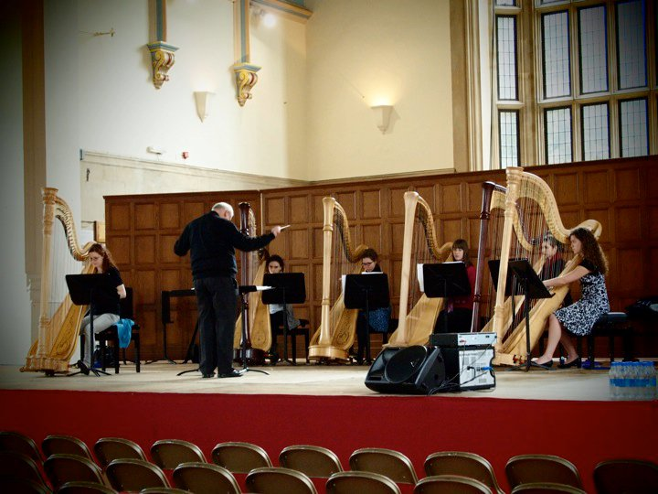 Rehearsing with the RAM Harp Ensemble and Gareth Wood // June 2010