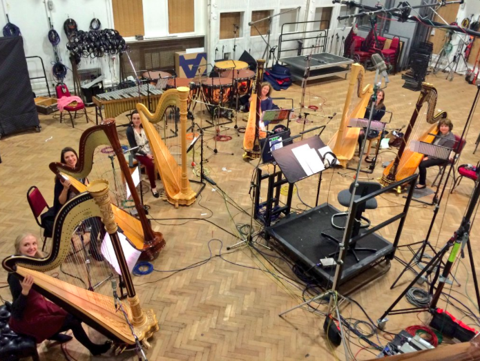 Recording session with 6 harps at Abbey Rd Studios // November 2015